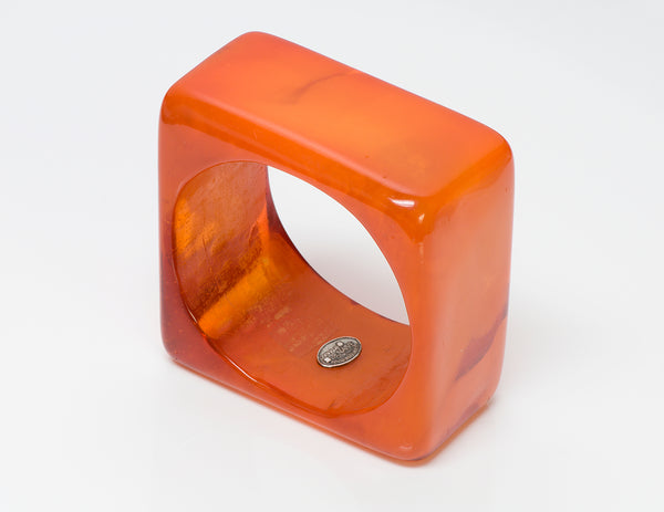 Dominique Denaive Orange Resin Bangle Bracelet