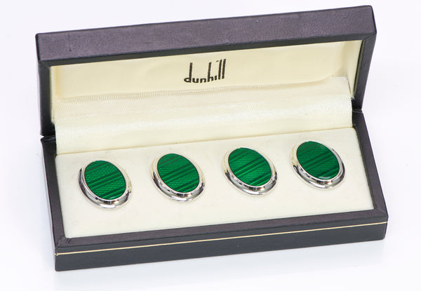 Dunhill Guilloche Enamel Sterling Shirt Studs