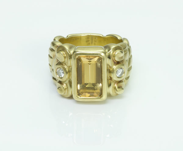 Elizabeth Rand 18K Yellow Gold Topaz Diamond Ring