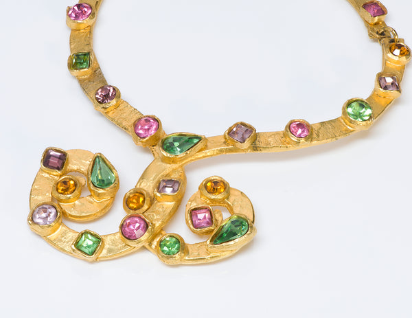 Edouard Rambaud Paris 1980's Gold Tone Crystal Necklace