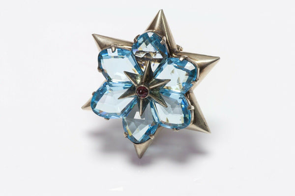 EISENBERG Crystal Star Flower Brooch