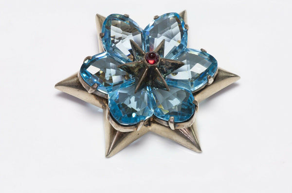 EISENBERG 1940's Blue Crystal Star Flower Brooch