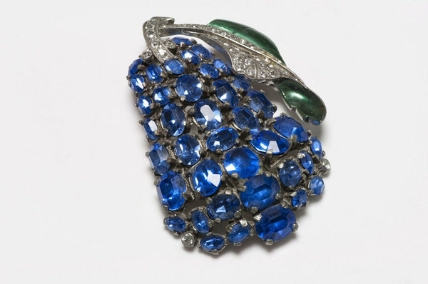 EISENBERG Original 1940's Blue Crystal Green Enamel Pear Brooch