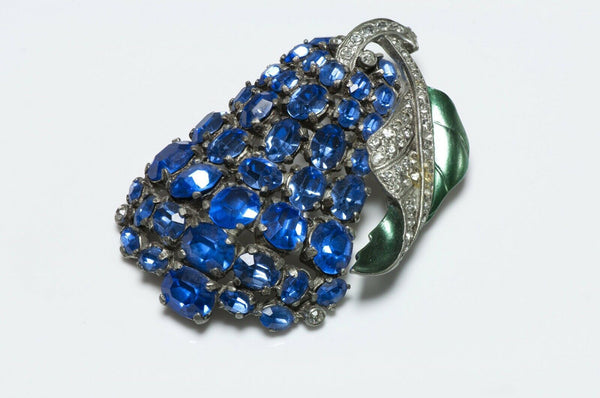 EISENBERG Original 1940's Blue Crystal Green Enamel Pear Fruit Brooch