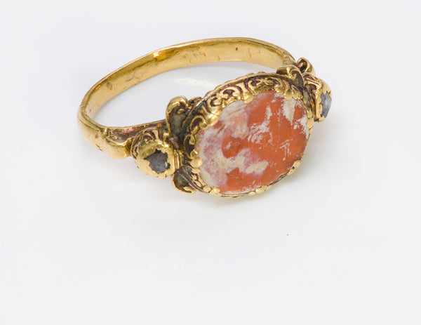 Ancient Agate Intaglio Gold & Diamond Ring