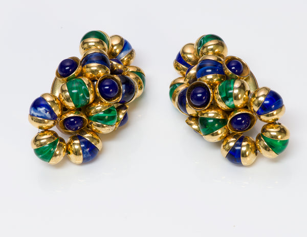 Francoise Montague Paris Gold Tone Green Blue Bead Earrings