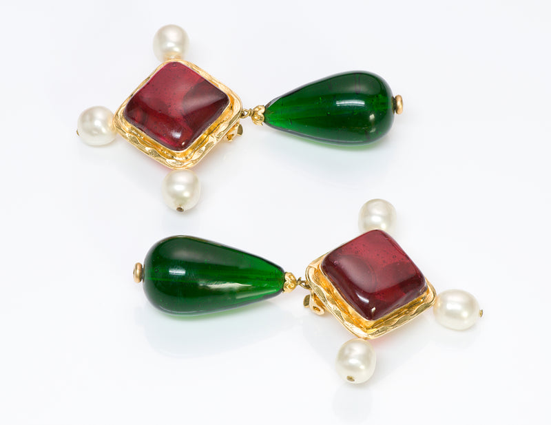 Vintage Chanel Gripoix Red Green Byzantine Pearl Drop Earrings