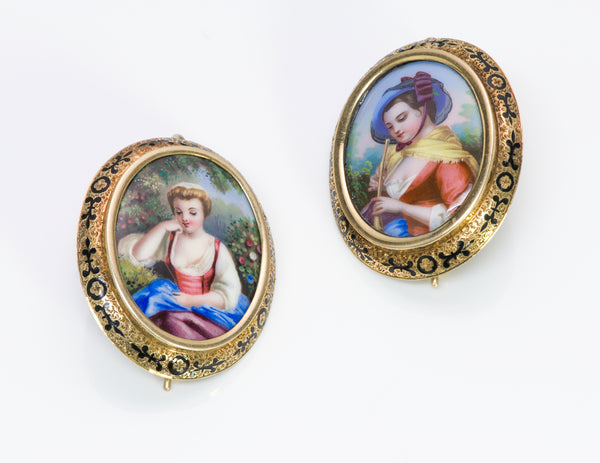 Antique Victorian Swiss Enamel Gold Earrings