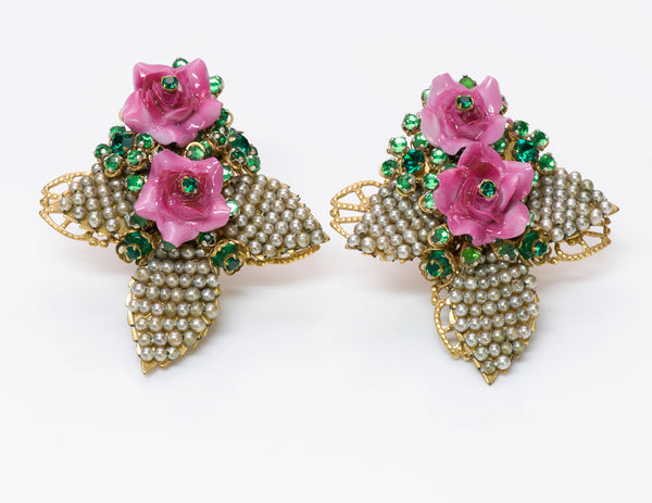 Stanley Hagler Pearl Enamel Leaf Flower Earrings