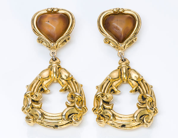 Jacky de G Gold Tone Baroque Style Earrings