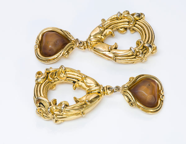 Jacky de G 1980's Long Gold Tone Baroque Style Earrings