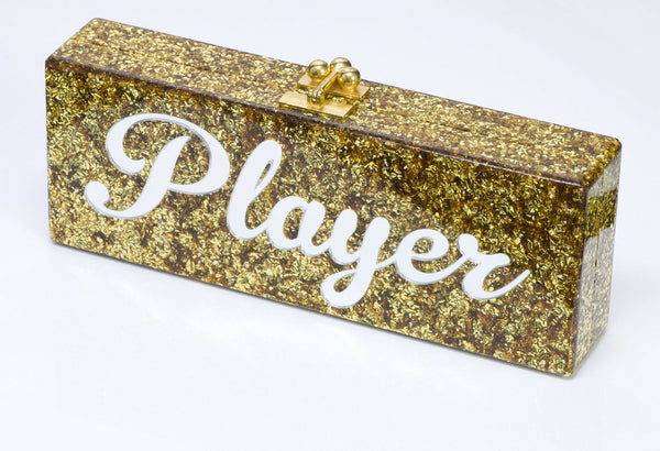 "Edie Parker ""PLAYER"" Flavia Acrylic Gold Confetti Clutch Bag"