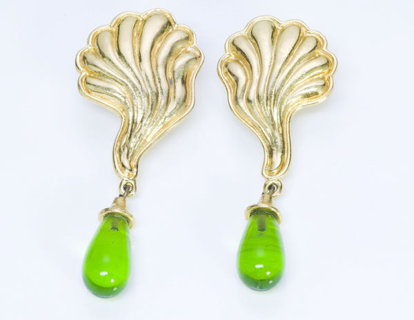 Edouard Rambaud Paris 1980's Green Glass Shell Long Earrings