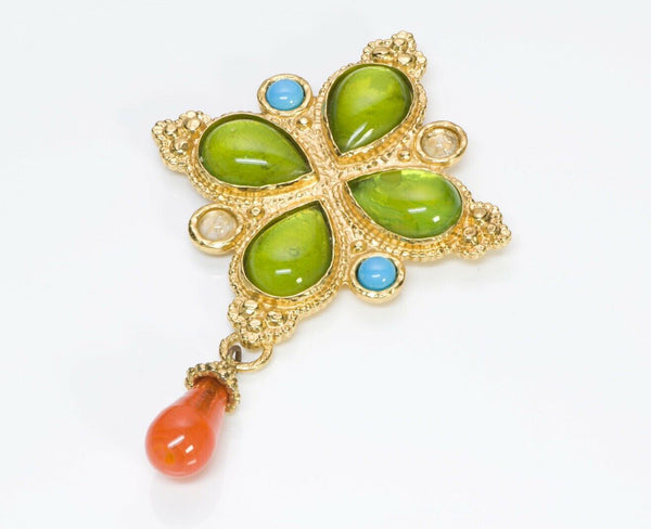 Edouard Rambaud Paris Green Orange Poured Glass Brooch