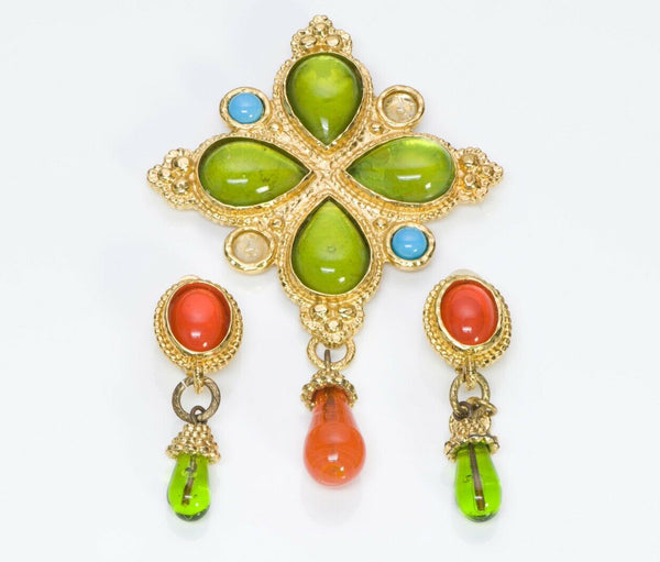 Edouard Rambaud Paris Green Orange Poured Glass Earrings Brooch Set