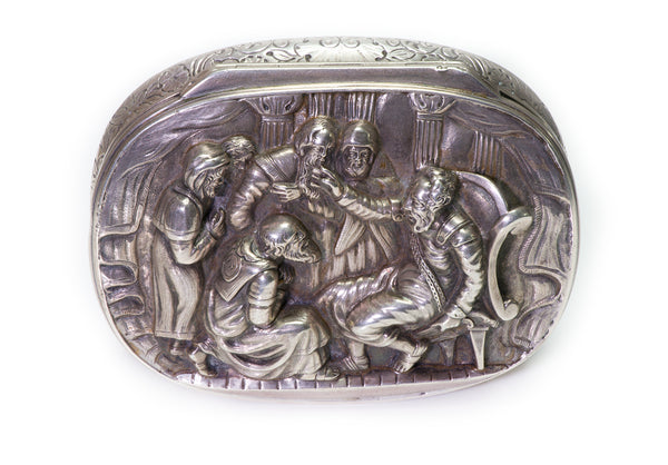 Edward Farrell Antique Victorian High Relief Silver Snuff Box by Edward Farrell