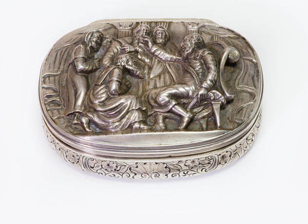 Antique Victorian High Relief Silver Snuff Box by Edward Farrell