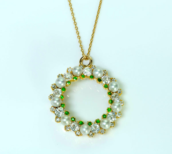 Antique Edwardian Diamond Pearl Demantoid Gold Pendant/Necklace