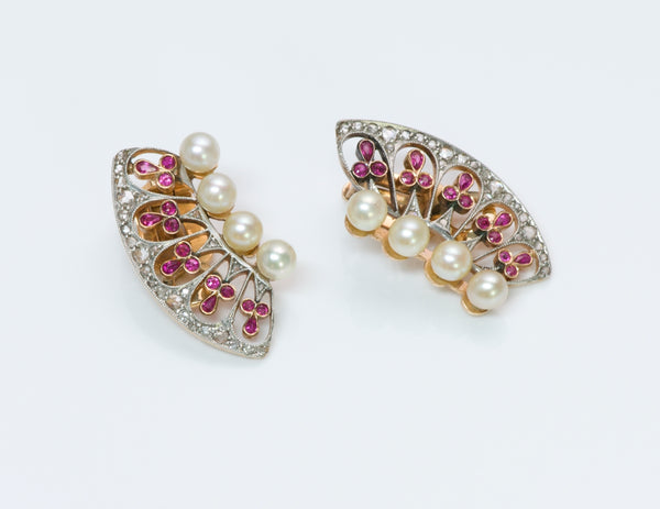 Edwardian Ruby Diamond Pearl Gold Earrings