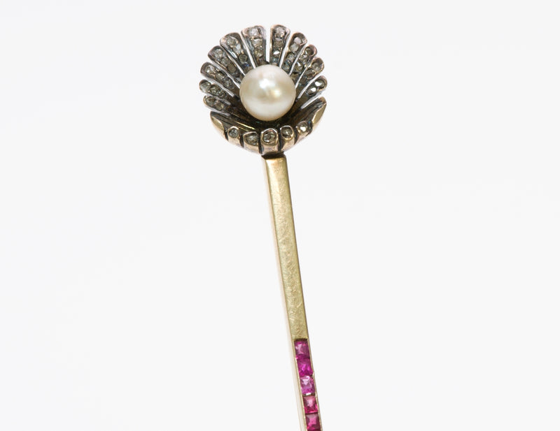 Edwardian Ruby & Pearl Stick Pin