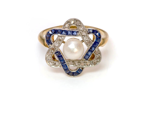 Antique Edwardian Sapphire Diamond Pearl Ring 2