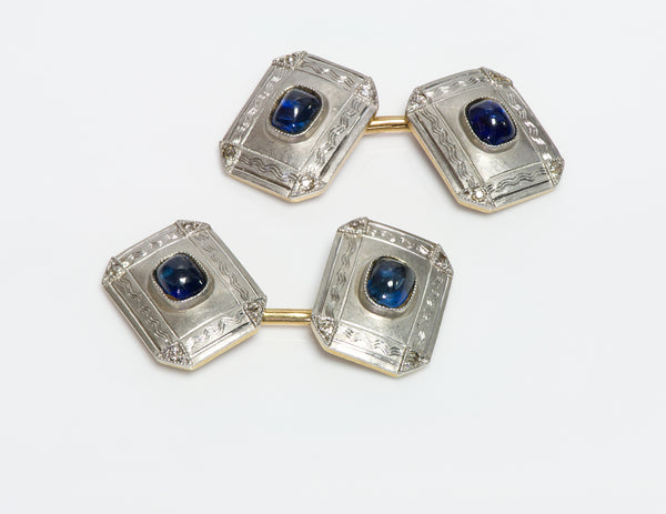 Antique Edwardian Platinum & Gold Sapphire Cufflinks