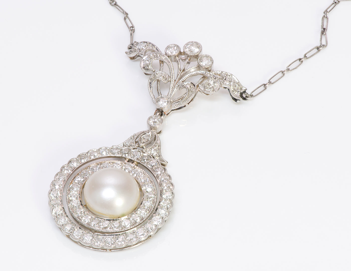 Antique Edwardian Platinum Diamond Pearl Pendant