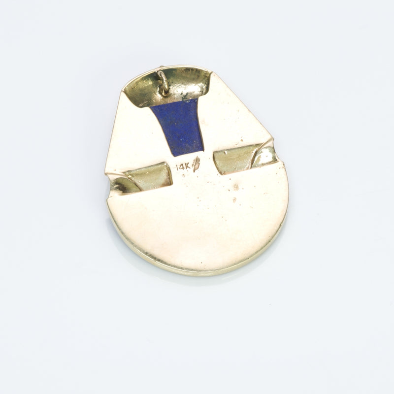 Egyptian Revival Gold Lapis Pendant