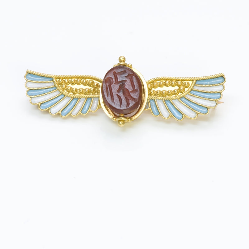 Egyptian Revival Carnelian Gold Brooch