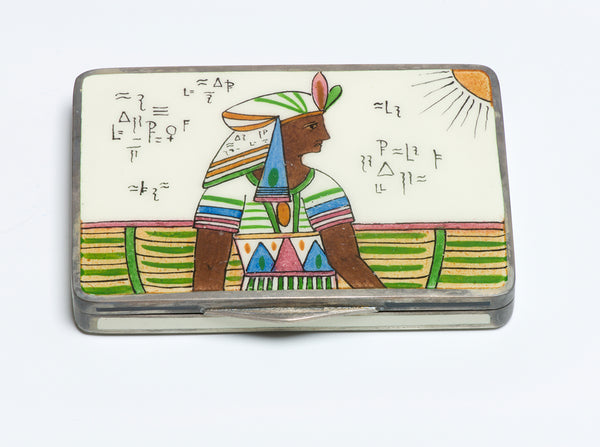 Antique Silver Enamel Egyptian Revival Pharaoh Case Compact