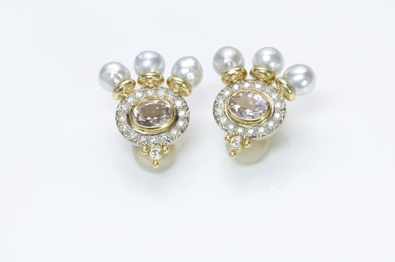 Elizabeth Gage Diamond Pearl Kunzite Gold Earrings