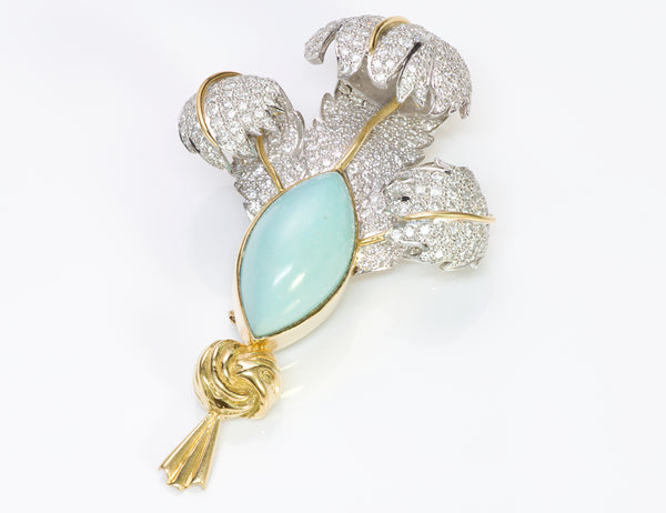 Elizabeth Gage Diamond Turquoise Gold Brooch Feather