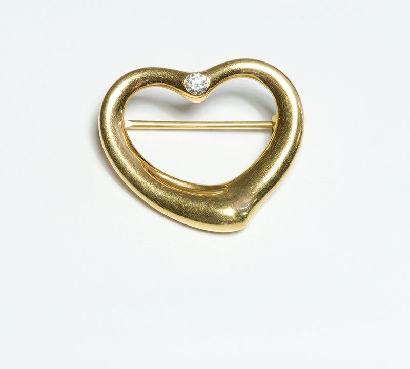 Tiffany & Co. Elsa Peretti 18K Gold Open Heart Diamond Brooch