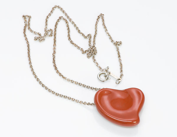 Tiffany & Co. Elsa Peretti Jasper Heart Pendant Necklace