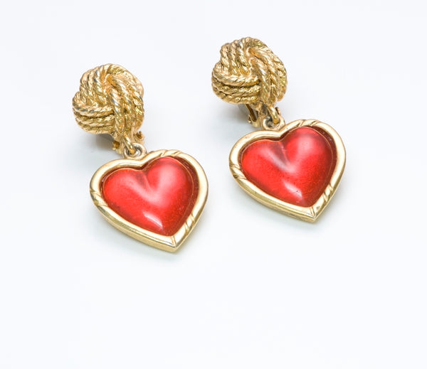 Emanuel Ungaro Gripoix Heart Earrings