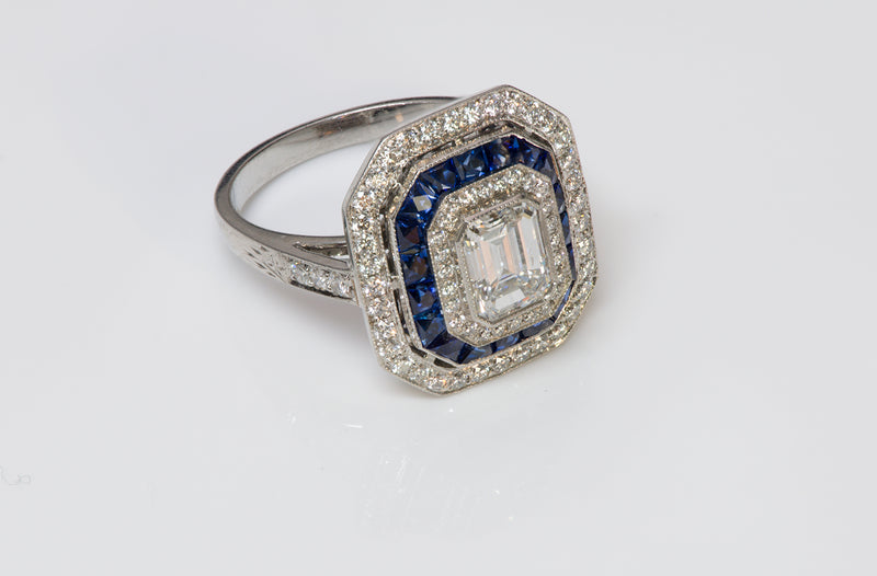 Emerald Cut Diamond Sapphire Platinum Ring
