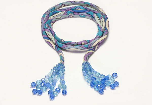 Emilio Pucci Coppola e Toppo 1960's Blue Purple Silk Crystal Tassel Belt