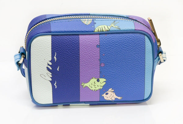 "Emilio Pucci ""Capri"" Blue Purple Leather Fish Mini Crossbody Bag"
