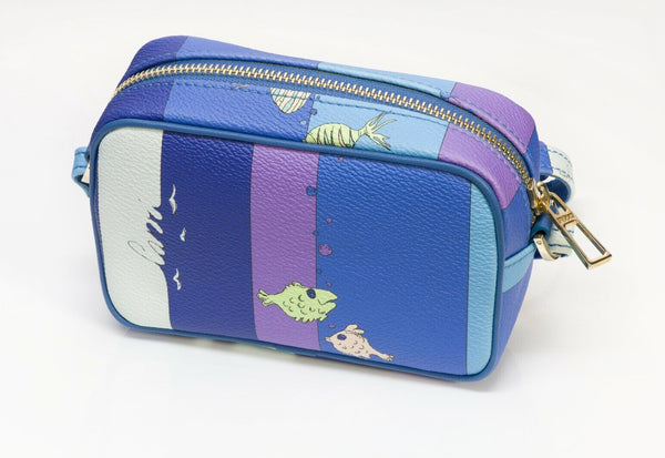 "Emilio Pucci ""Capri"" Blue Purple Leather Fish Pattern Mini Crossbody Bag"