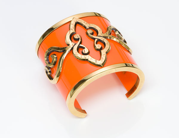 Emilio Pucci Wide Orange Resin Baroque Style Cuff Bracelet