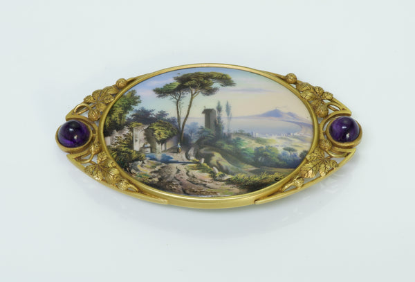Antique Enamel 18K Gold Amethyst Brooch