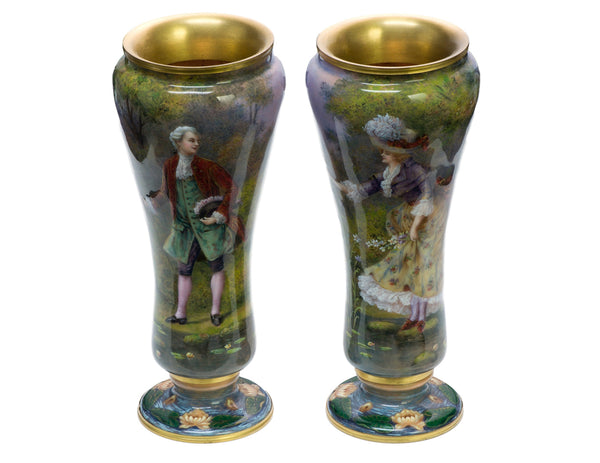 Antique Enamel French Vases
