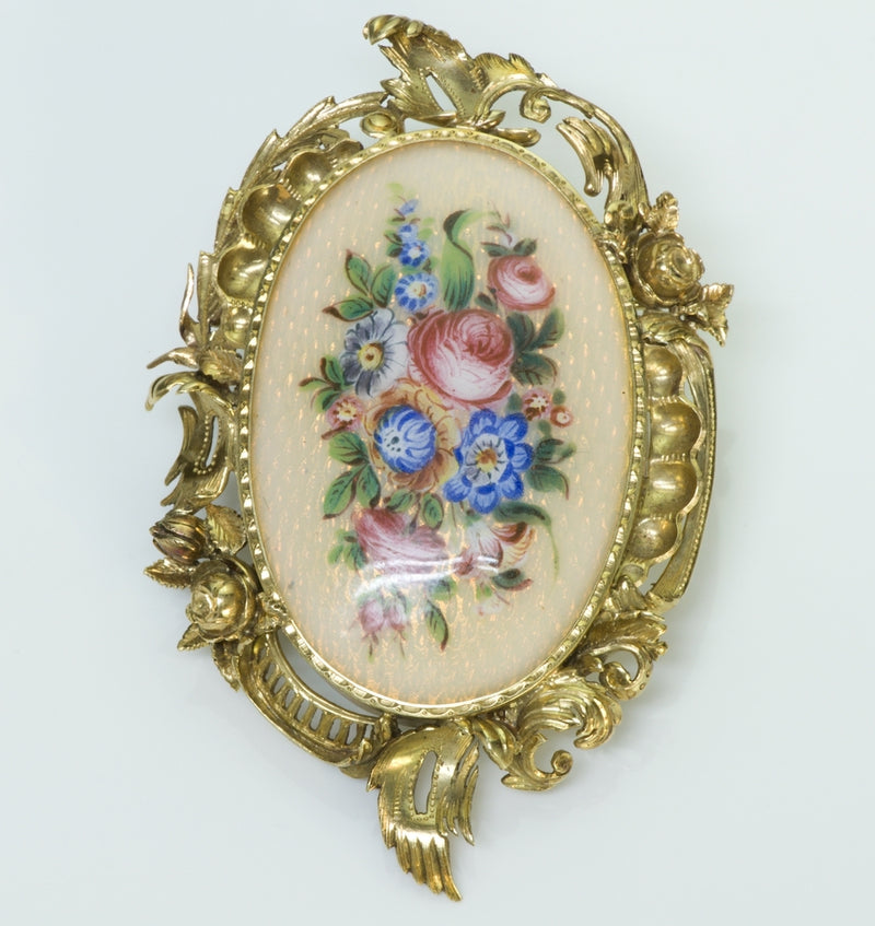 Antique Enamel 18K Gold Brooch