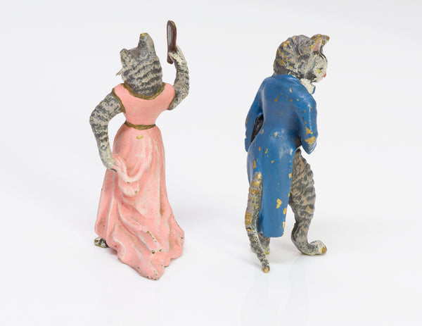 Antique Austrian Enamel Bronze Miniature Cats