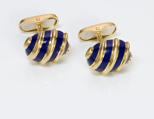 Blue Enamel 18k Gold Cufflinks