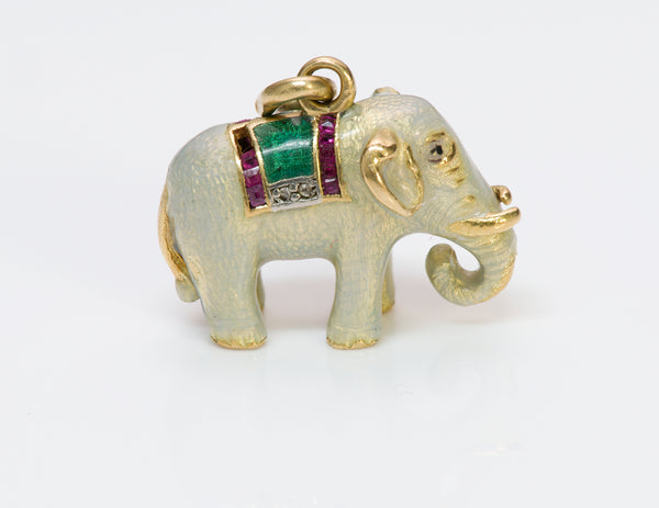 Antique Ruby Diamond 18K Gold Enamel Elephant Charm Pendant