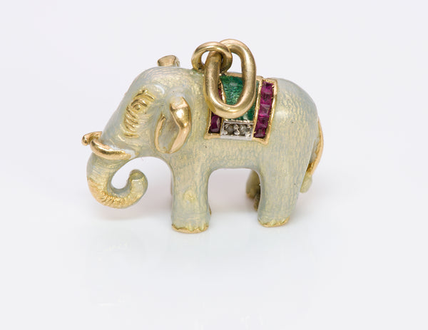 Antique Ruby Diamond Gold Enamel Elephant Charm Pendant