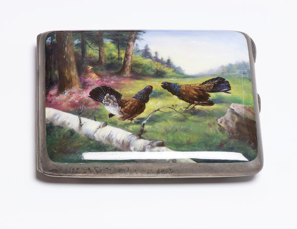 Antique Silver Enamel Rooster Fight Cigarette Case Box