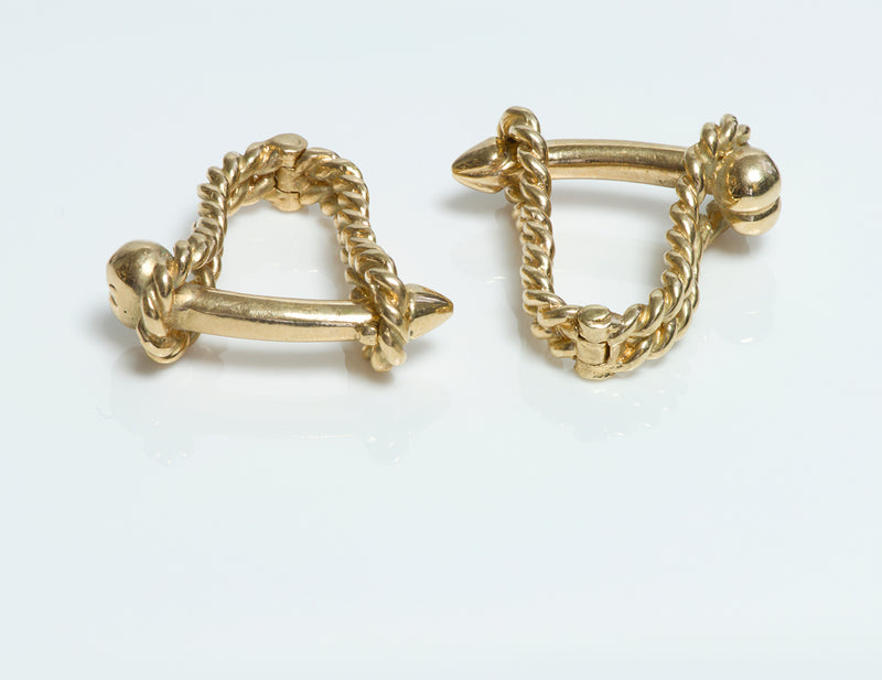 Gold Phallus Penis Naughty Erotic Cufflinks Stirrup