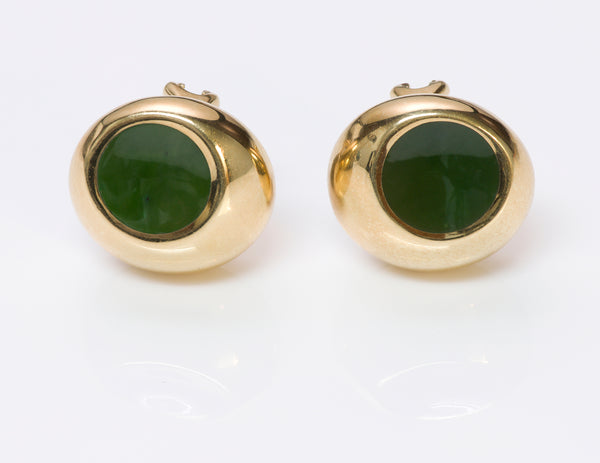 Tiffany & Co. Elsa Peretti 18K Gold Jade Earrings